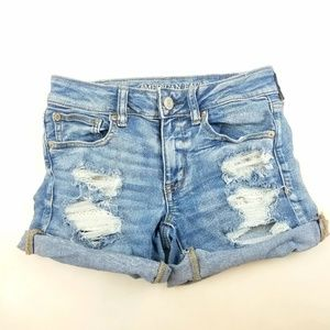 Womens American Eagle Midi Distressed Lace Shorts